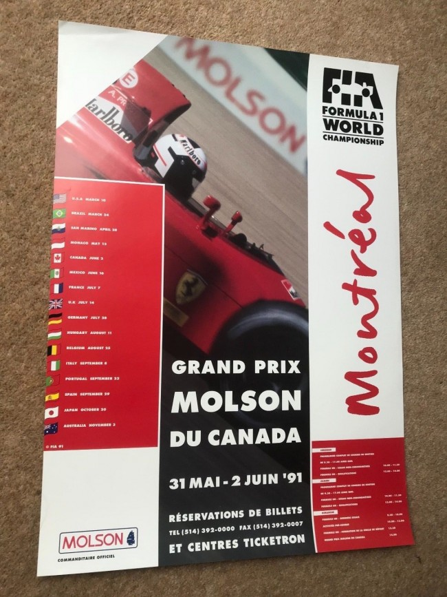 1991 CANADA F1 RACE POSTER