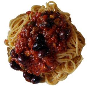 espaguetis con aceitunas Itrana, Gaeta olives