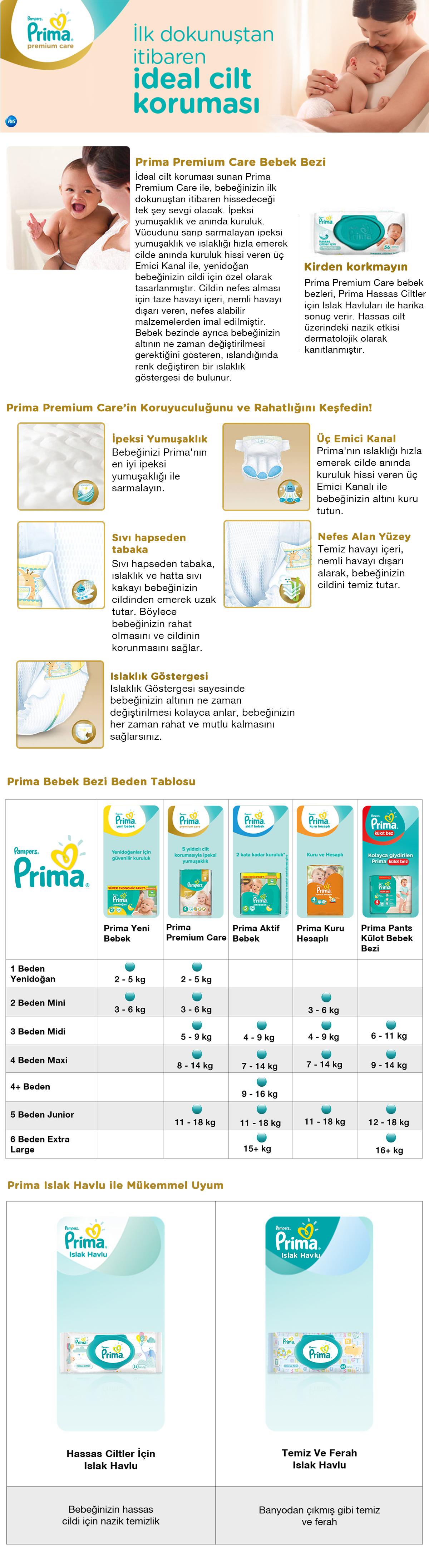 Delist Prima Bebek Bezi Premium Care Aylık Fırsat Paketi 4 Beden Maxi 168 Adet