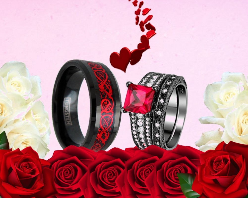 HIS TUNGSTEN AND HER CZ RED BLACK GOTHIC 3 PCS ENGAGEMENT BAND ...