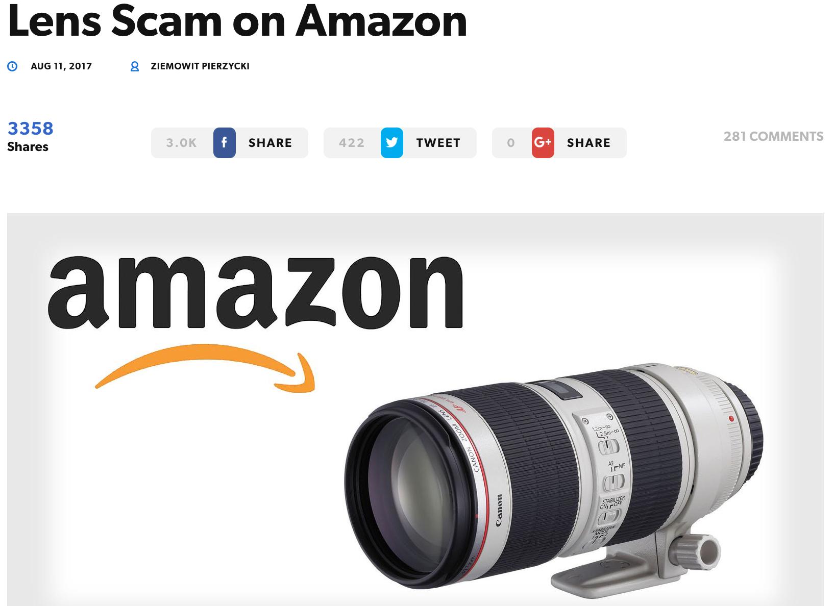 Amazon Camera Lens Scam