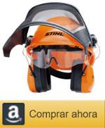 casco de seguridad, orejeras, gafas de protección, conjunto sthil