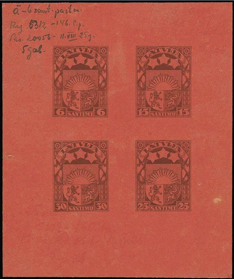 Izmēģinājuma iespiedums uz sarkanbrūna papīra; zināms tikai vienā eksemplārā. Pārdots izsolē par 3 000 €.