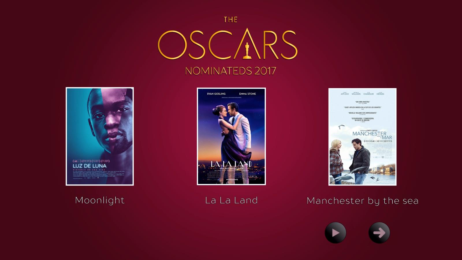 Menú Principal Disco 01 Colección The Oscars Nominateds 2017 (1 de 2)