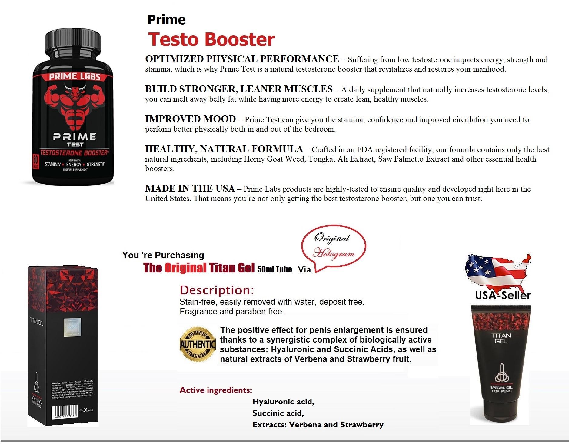 Prime Labs Men's Testosterone Booster (60 Caplets) + Original Titan Gel eBay