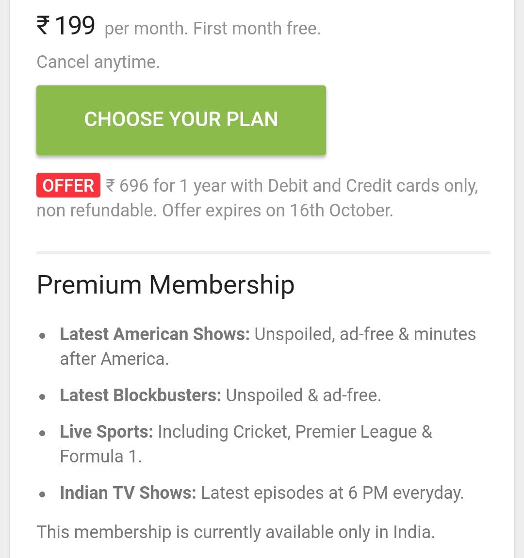 Update - Hotstar Premium Membership ₹696 for 1 year