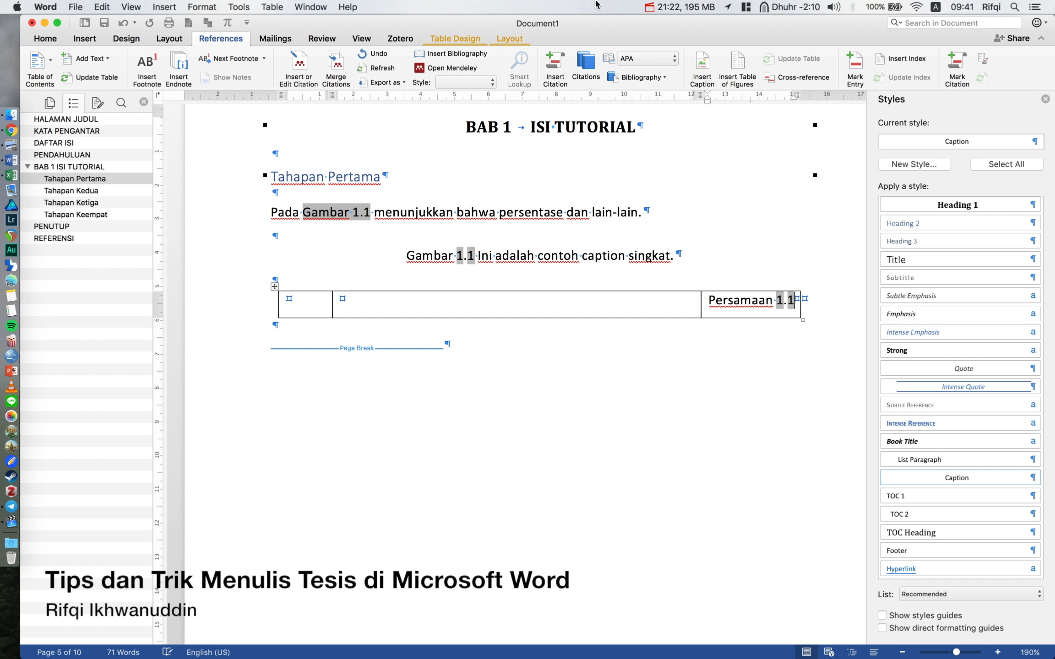 Tips dan Trik Menulis Tesis di Mac Microsoft Word 2016