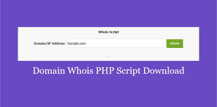 Domain Whois v1 PHP Script Download