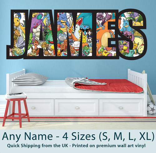 Childrens Personalised Name Wall Stickers Pokemon Boys//Girls Bedroom art 2