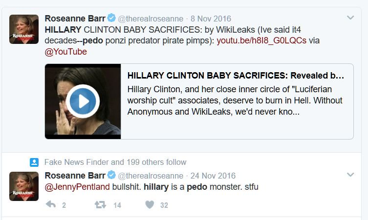 Image result for images of roseanne barr's tweets
