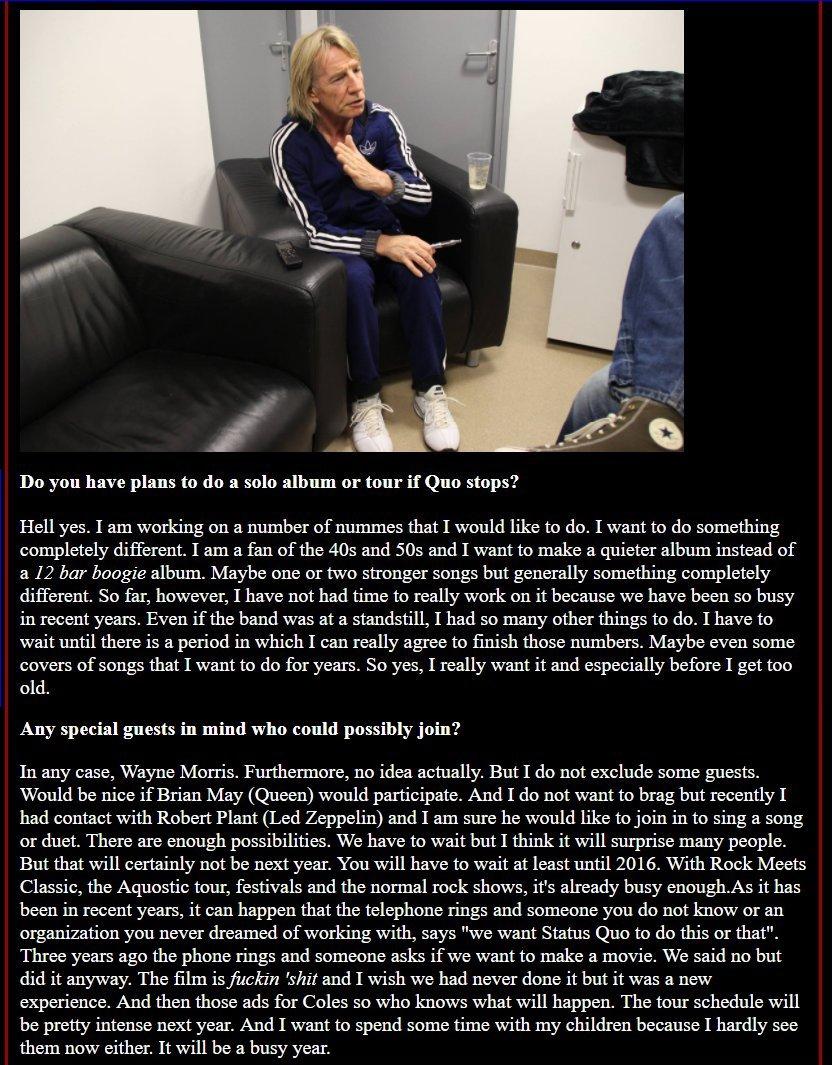 Rick Parfitt interview - April 2015