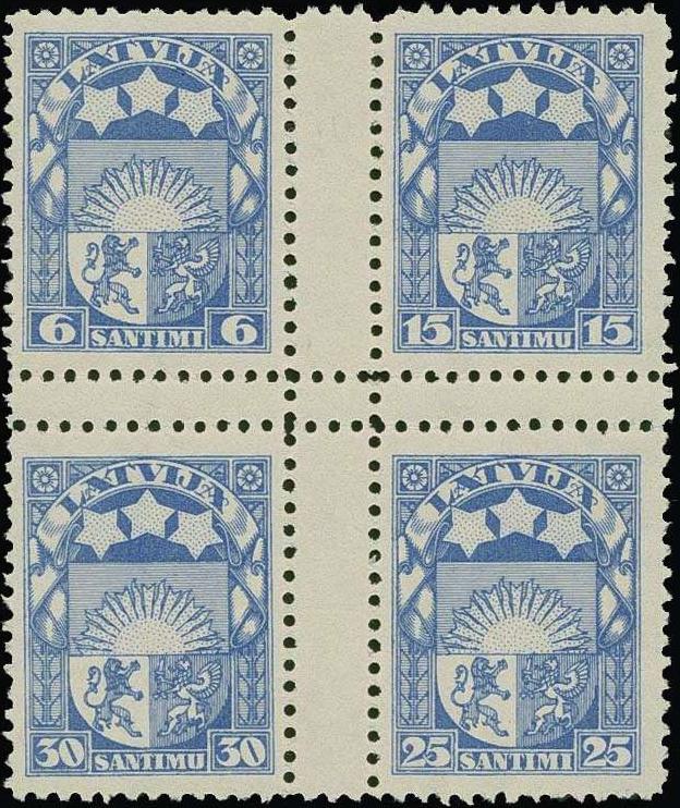 Izmēģinājuma iespiedums zilā krāsā ar zobojumu. Uzskata, ka šajā krāsā eksistē tikai daži eksemplāri. Pārdots izsolē par 2400 €.