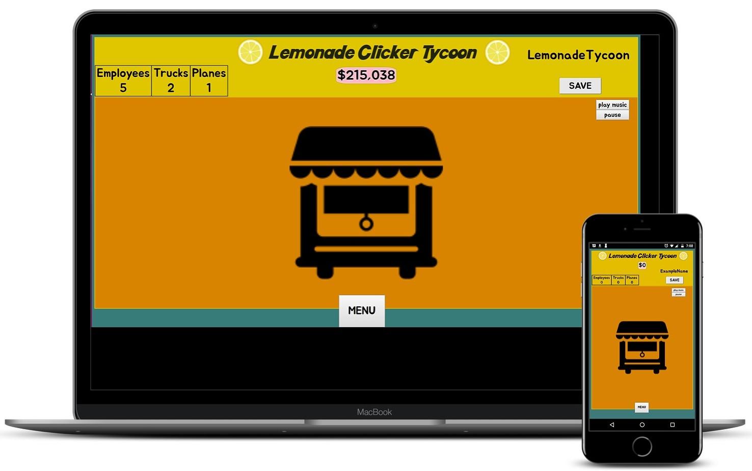 screenshot of Lemonade Clicker Tycoon app