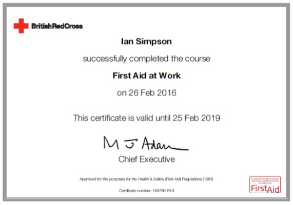 first aid at work certificate