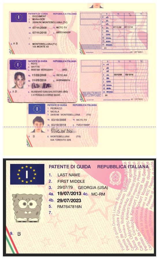 italy driving licence psd+cdr template