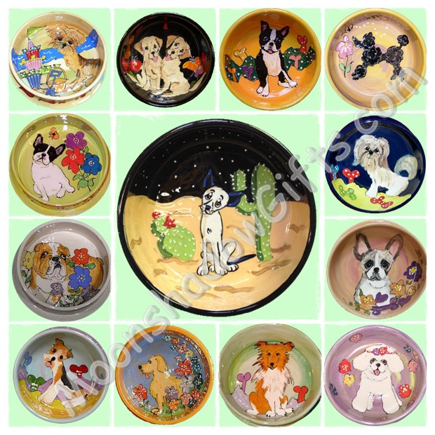 Examples of dog bowls with various background options