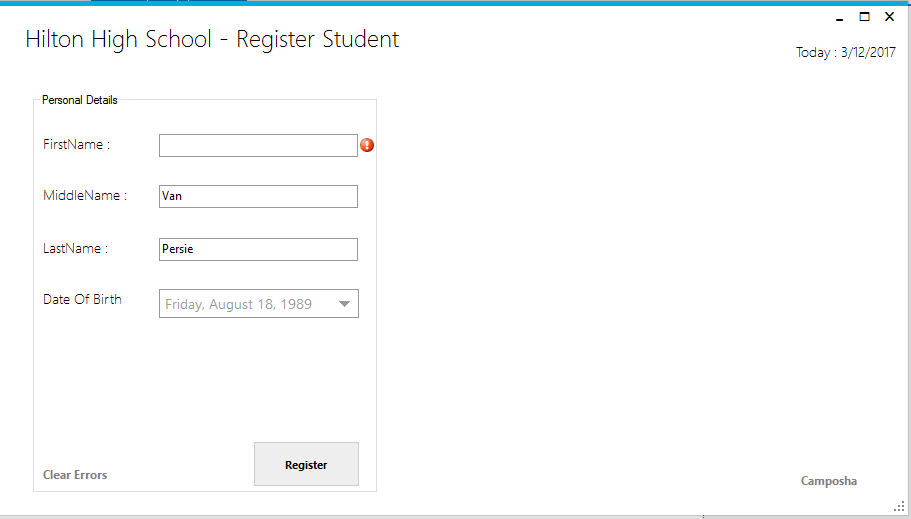 MS Access C# Validate Student Details