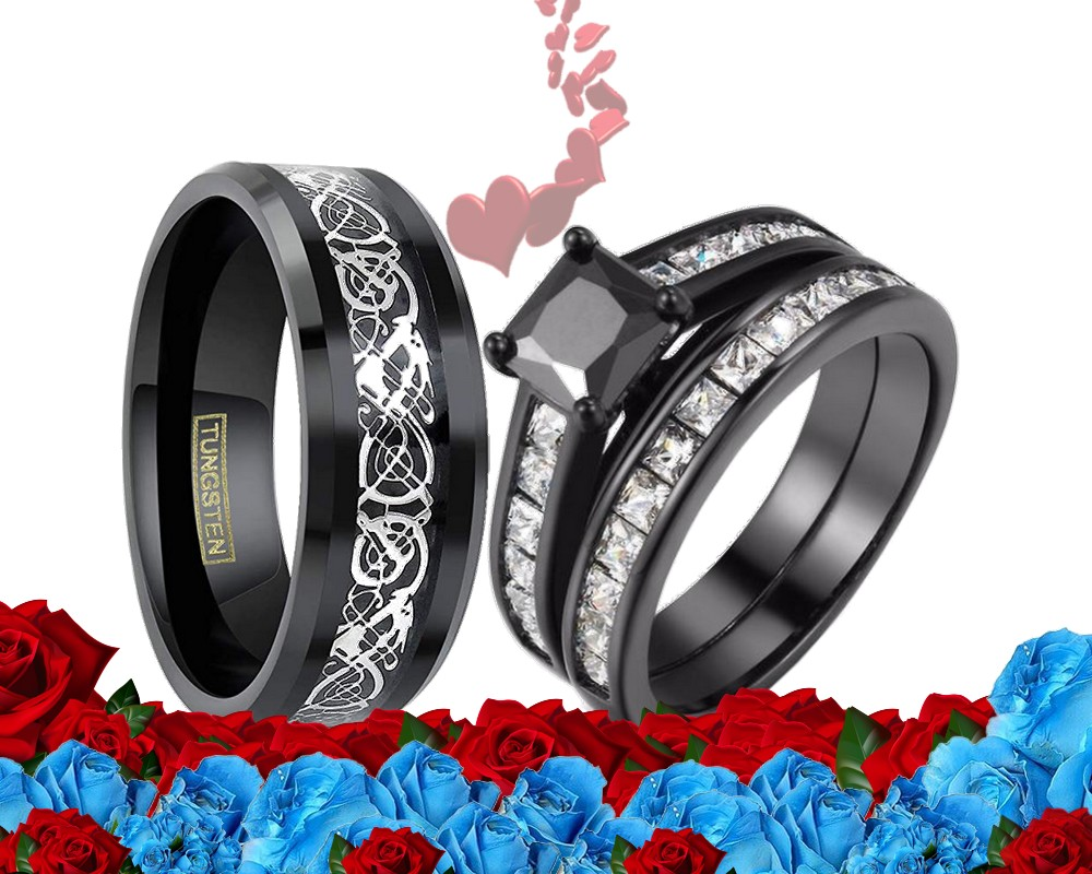Black Tungsten His /& Hers Engagement Wedding Band Ring Sets Celtic Dragon BC