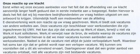 werk nl antwoord klacht 14 11 2013