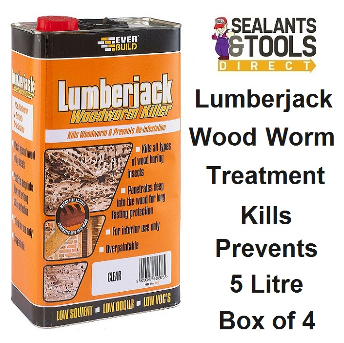 Everbuild Lumberjack Wood Worm Killer 5 Litre Box of 4
