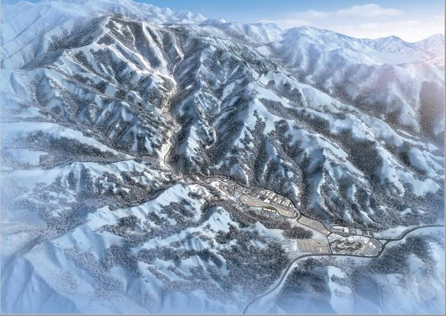 Artist impression van Yanqing zone met National Alpine Ski Centre, National Sliding Centre en Olympisch dorp