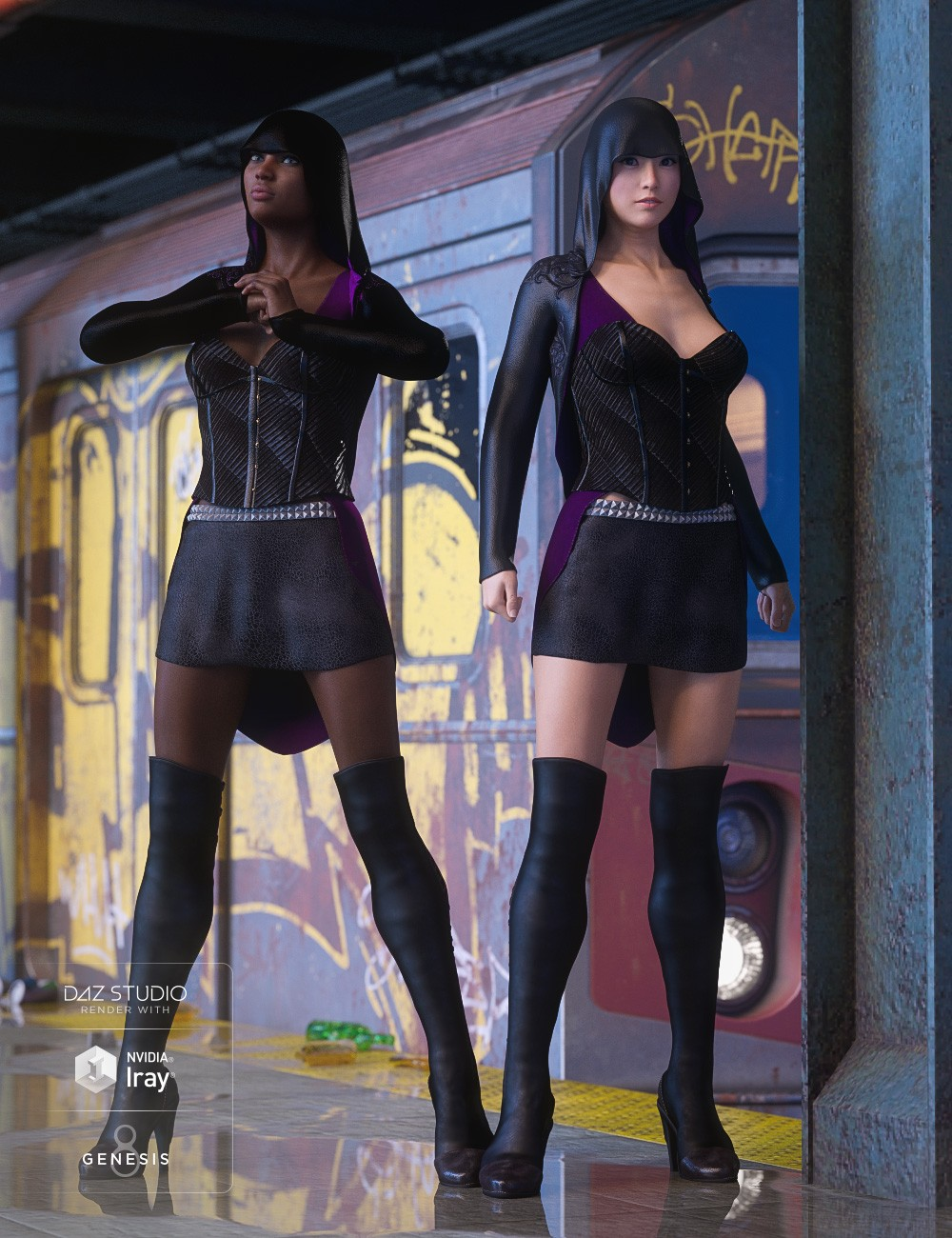 dForce Shadow Hive Outfit for Genesis 8 Female(s)