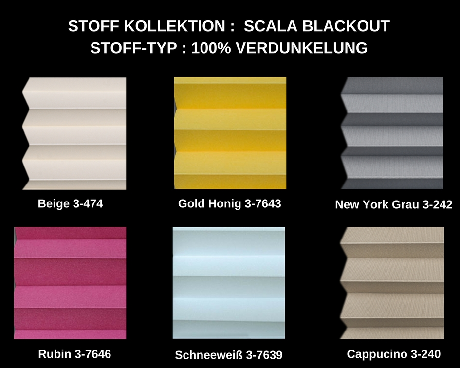 verdunkelung plissee scala blackout faltrollo auf ma f r alle fenster ebay. Black Bedroom Furniture Sets. Home Design Ideas