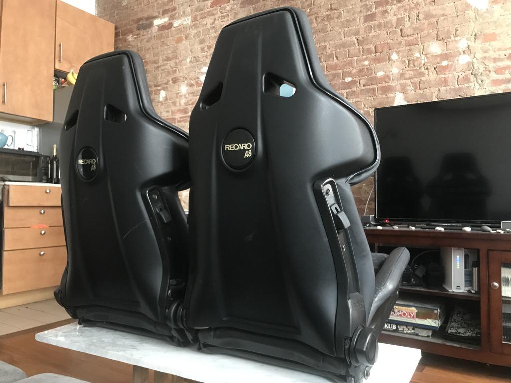 Recaro A8 Seats Gen 1 Black Leather W Cloth Pelican