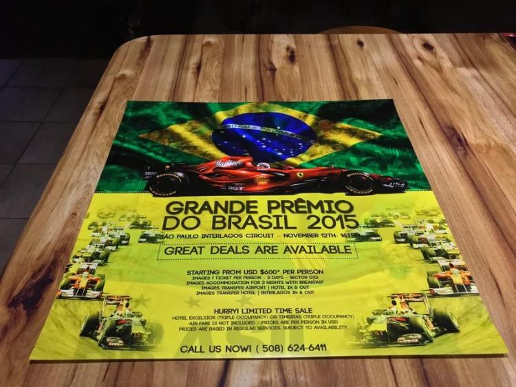 2015 F1 SCHUMACHER FERRARI GRAND PRIX BRAZIL POSTER