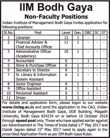 Indian Institute of Management Bodh Gaya invites an application for various posts under Non-Teaching Positions