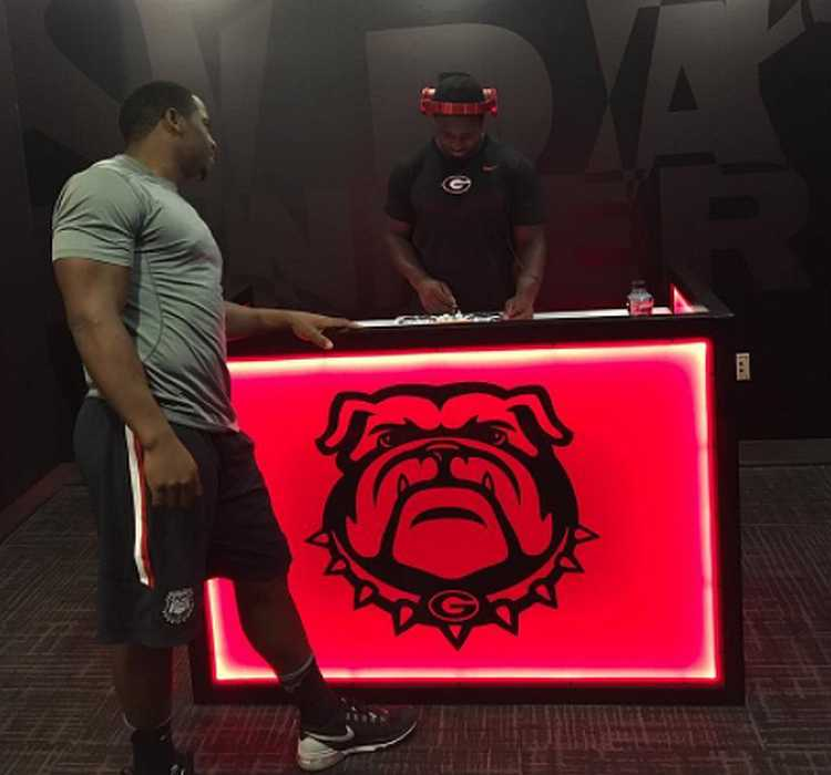 Sony Michel 'spinning it' on the Bulldog's new locker room DJ Booth (Photo from Sony Michel / flyguy2stackz Instagram)
