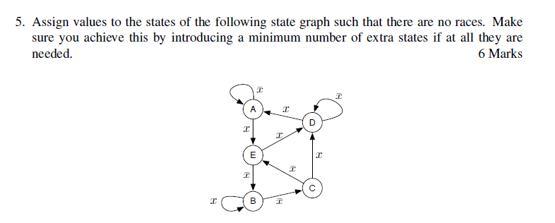 5. Assign values to the states of the following state graph such that there are no races. Make sure you achieve this by introducing a minimum number of extra states if at all they are 6 Marks needed B?:
