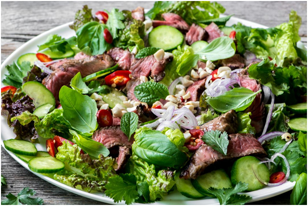 TOP_10_HEALTHY_DINNER_IDEAS_STEAK_SALAD_WITH_MINT_SCALLION_DRESSING