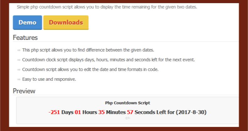 Countdown PHP Script