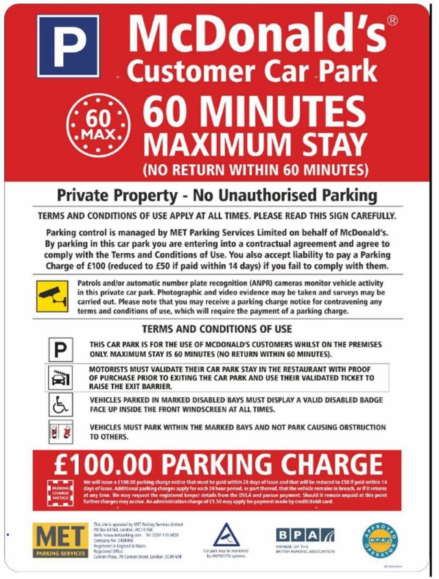 Pcn Met Parking Services Gatwick Mcdonalds Failure To Validate