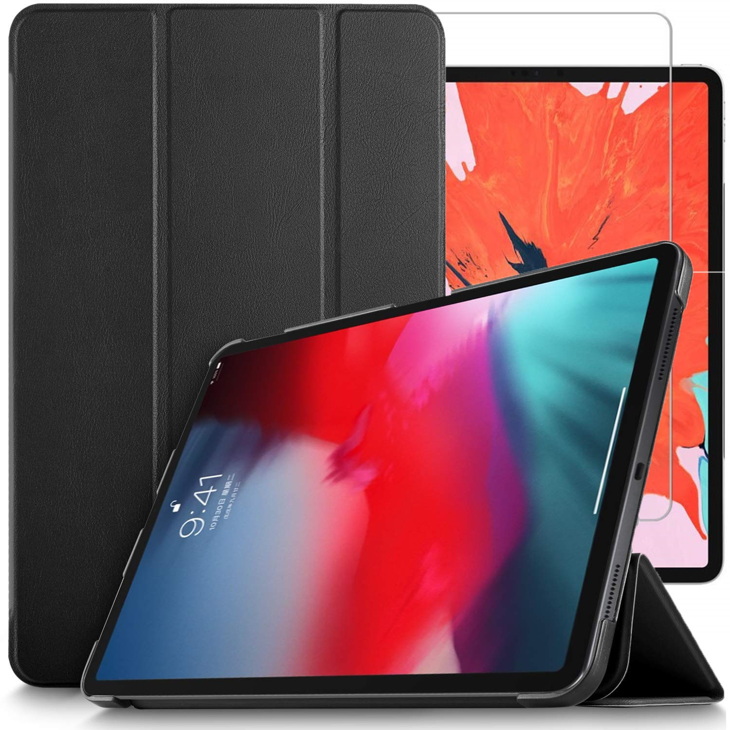 d0c10e3087 Details about For Apple iPad Pro 12.9 (2018) Case Stand Cover & Glass  Screen Protector