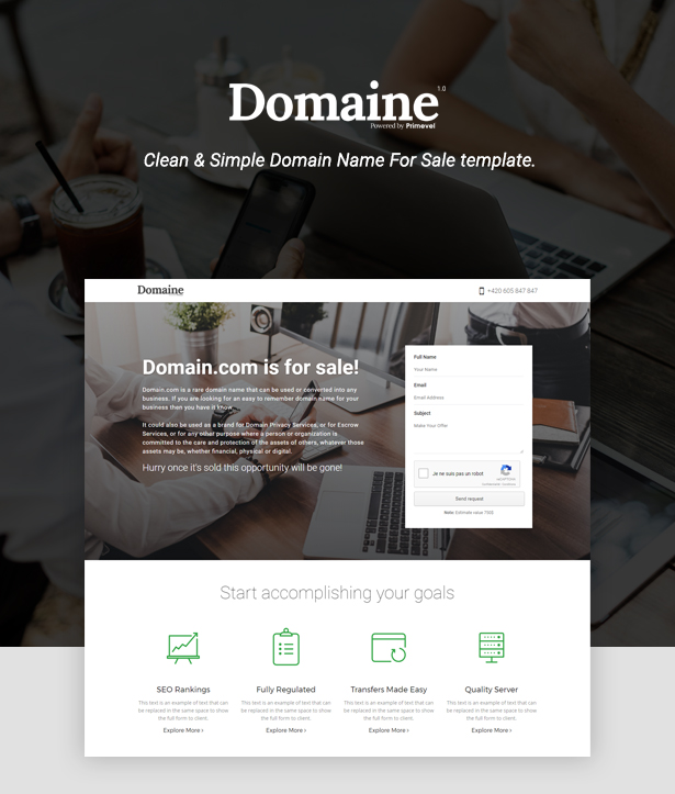 Domaine -  Responsive Domain For Sale Template - 1