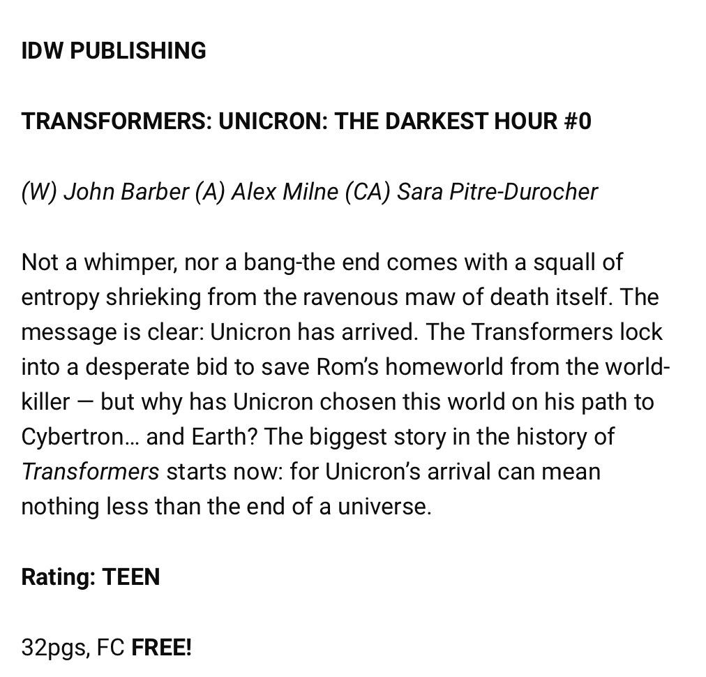 Free Comic Book Day 2018 - Unicron