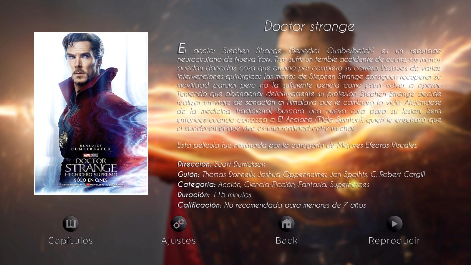 Menú de opciones Doctor Strange - Disco 03 Colección The Oscars Nominateds 2017