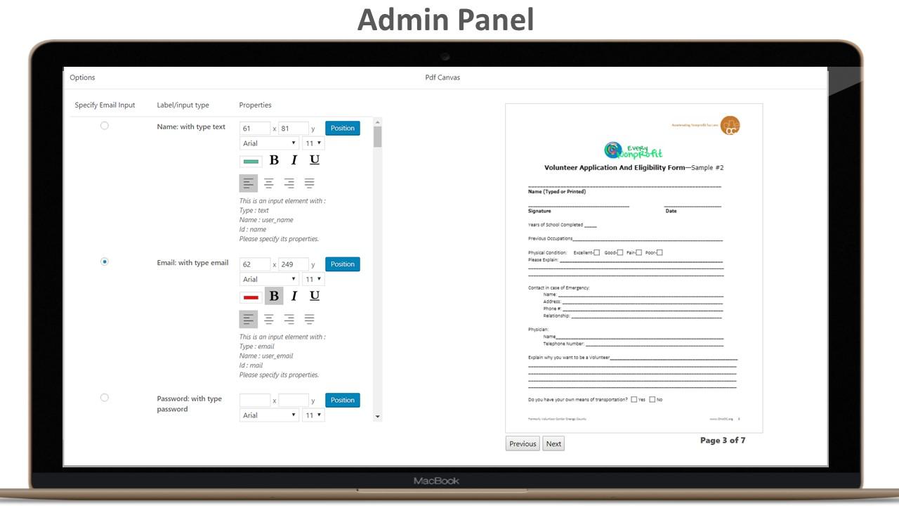 Form Generating PDF -  WordPress plugin - 1