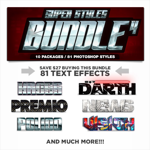 Super bundle of photoshop styles text effects 4