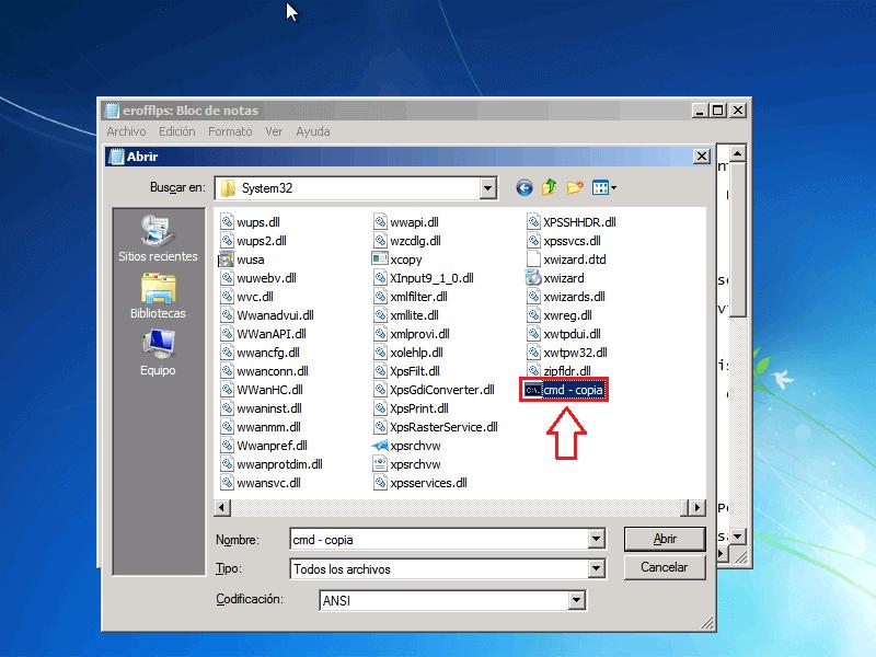 Pegar archivo CMD - Borrar clave en Windows 7