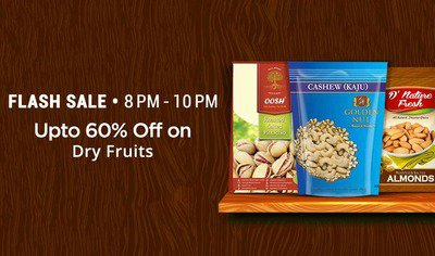 PayTM: Dry Fruits Flash Sale – Upto 60% Cashback