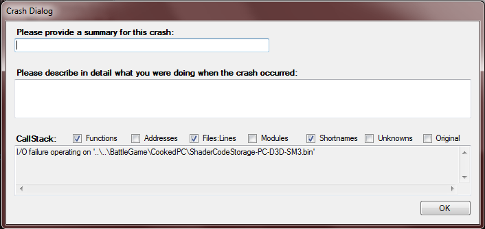 Crash when game is turning on