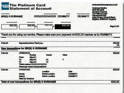 Amex Platinum Card statement Template