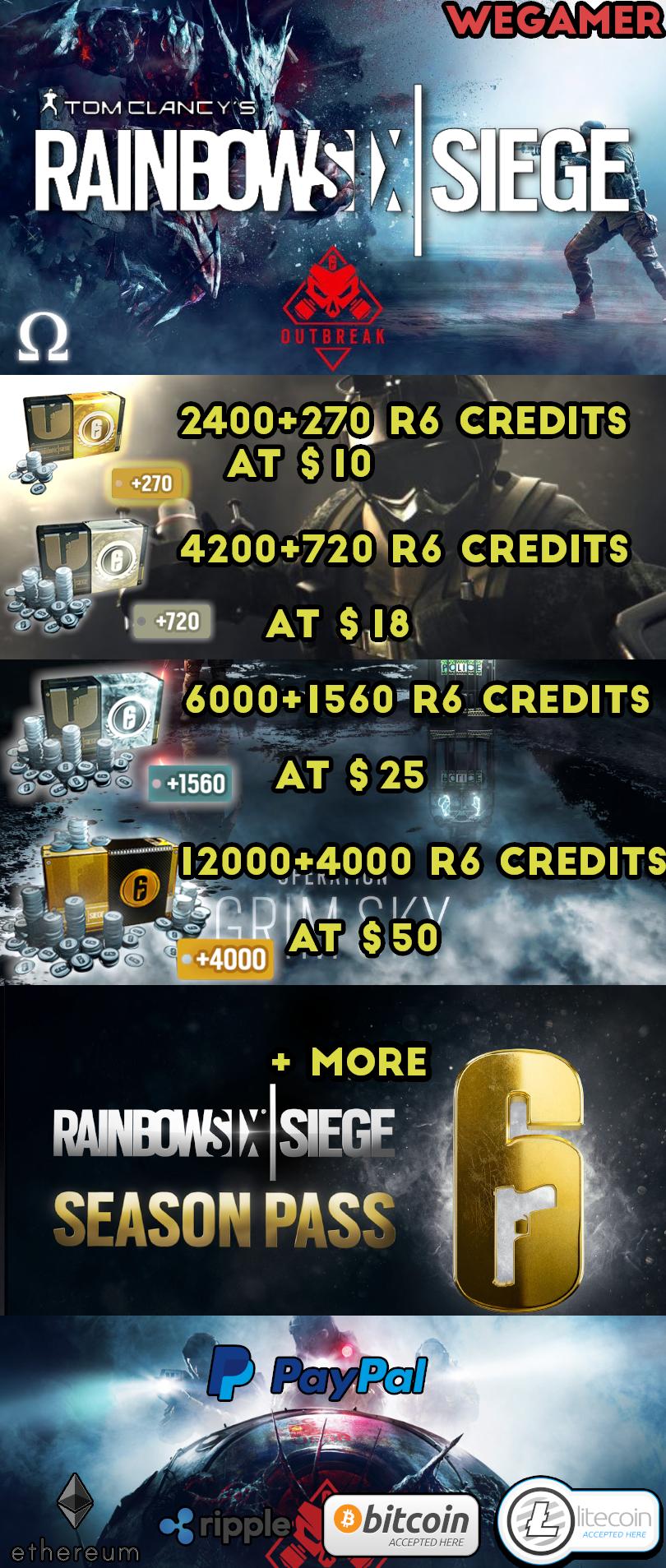 Selling - Rainbow Six Siege PC Credits & season pass & DLC's
