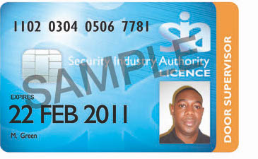 Example of the SIA Door Supervisor Licence