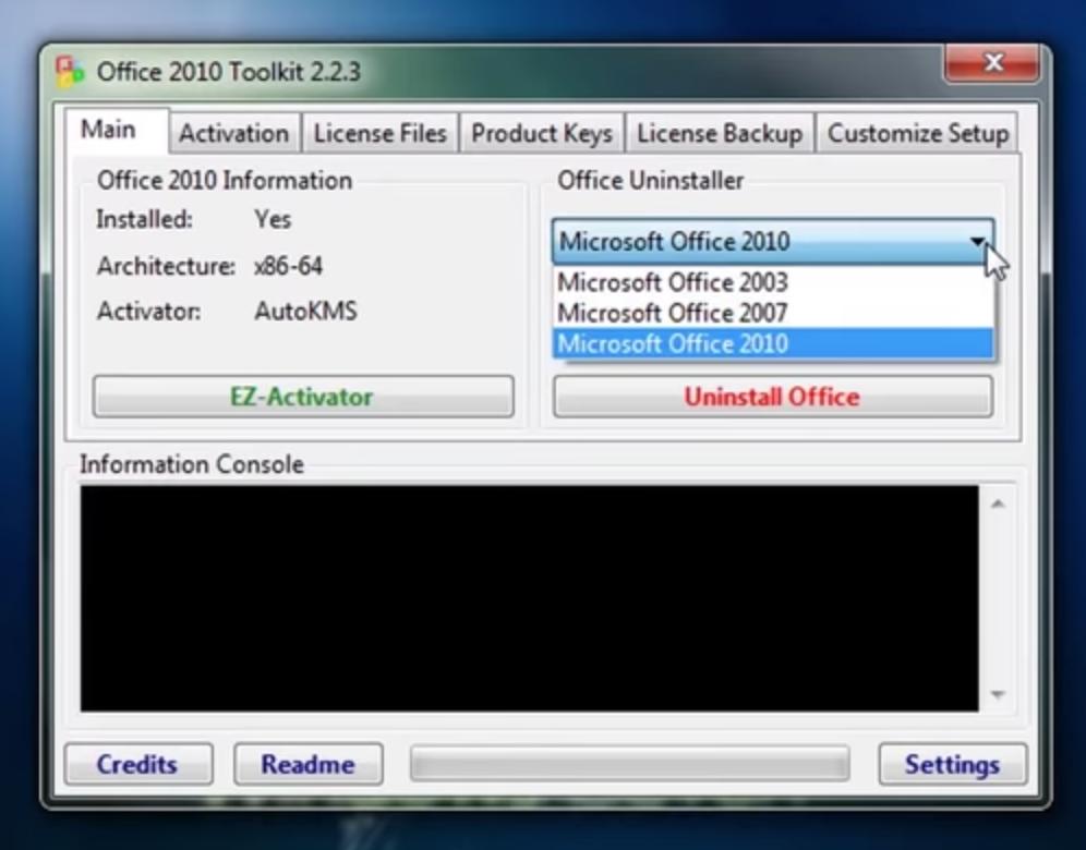 Activador de Office 2007: pantalla inicio del programa.