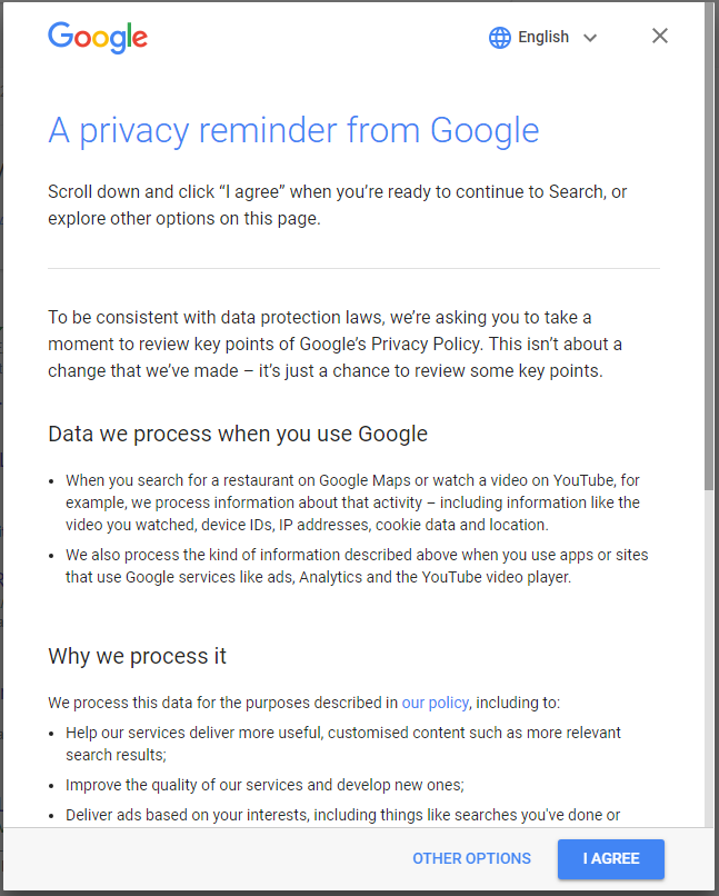 Image result for DATA WE PROCESS WHEN YOU USE GOOGLE