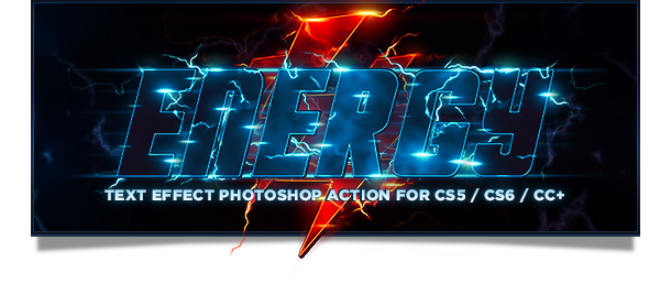 Energy Text Photoshop Action lightning and flash